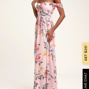 Lulus Floral Print Off-the-Shoulder Maxi Dress